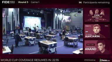 FIDE WORLD CUP R3 | Carlsen, Caruana, Giri | Hosts: GMs Naroditsky and Hou YIfan
