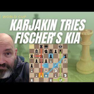 Karjakin turns to Fischer's old favorite, the KIA vs Shankland | FIDE World Cup Final 8